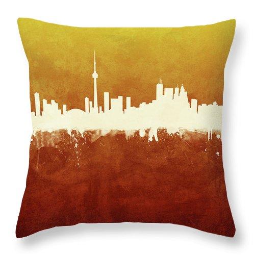 Toronto Throw Pillow featuring the digital art Toronto Canada Skyline by Michael Tompsett