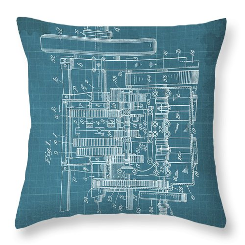 Throw Pillow featuring the drawing Motor Vehicle Patent Colored Vintage Art Print Year 1905 Blueprint by Drawspots Illustrations