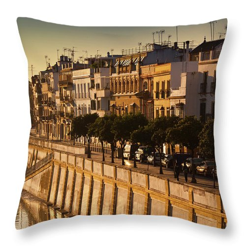 Tranquility Throw Pillow featuring the photograph Spain, Andalucia Region, Seville by Walter Bibikow