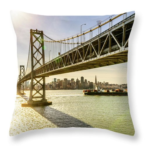 Scenics Throw Pillow featuring the photograph Bay Bridge And Skyline Of San Francisco by Chinaface