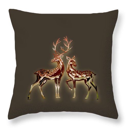 Deer Throw Pillow featuring the mixed media Deer by Marvin Blaine