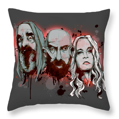 Devils Throw Pillow featuring the drawing 3 From Hell by Ludwig Van Bacon