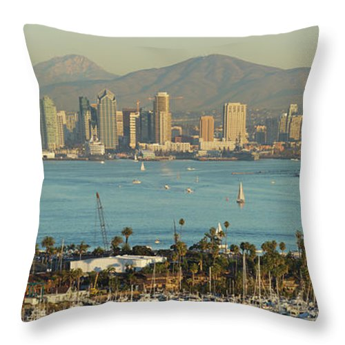 Downtown District Throw Pillow featuring the photograph San Diego Skyline by S. Greg Panosian