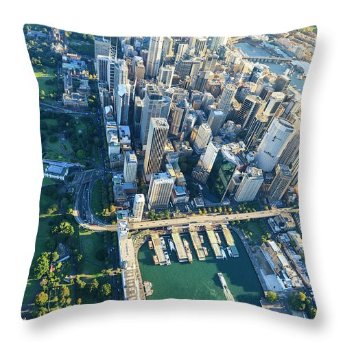 Shadow Throw Pillow featuring the photograph Sydney Downtown - Aerial View by Btrenkel