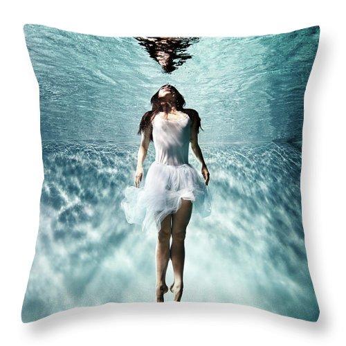 Ballet Dancer Throw Pillow featuring the photograph Underwater Ballet by Henrik Sorensen