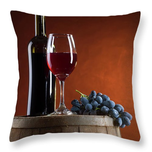 Rose Wine Throw Pillow featuring the photograph White Wine Composition by Valentinrussanov
