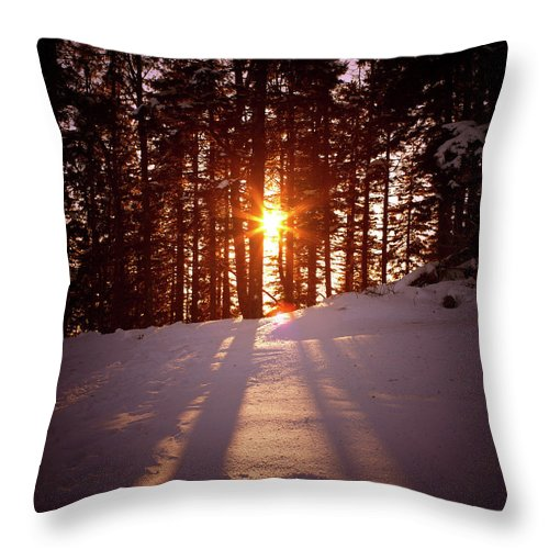 Scenics Throw Pillow featuring the photograph Winter Sunset by Borchee