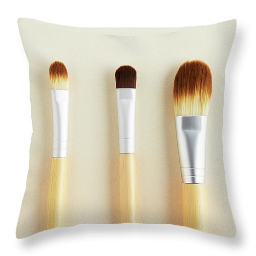 Five Objects Throw Pillow featuring the photograph Still Life Of Beauty Products by Stephen Smith