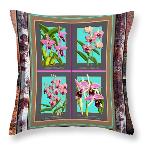 Vintage Throw Pillow featuring the painting Antique Orchids Quatro On Rusted Metal And Weathered Wood Plank by Baptiste Posters