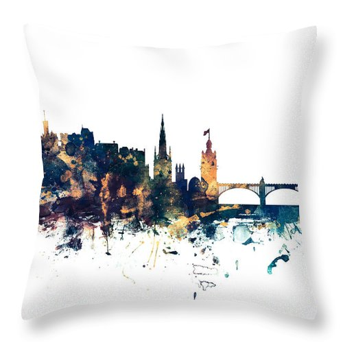 Edinburgh Throw Pillow featuring the digital art Edinburgh Scotland Skyline by Michael Tompsett