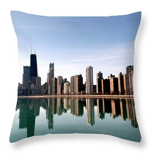 Lake Michigan Throw Pillow featuring the photograph Chicago Skyline by J.castro