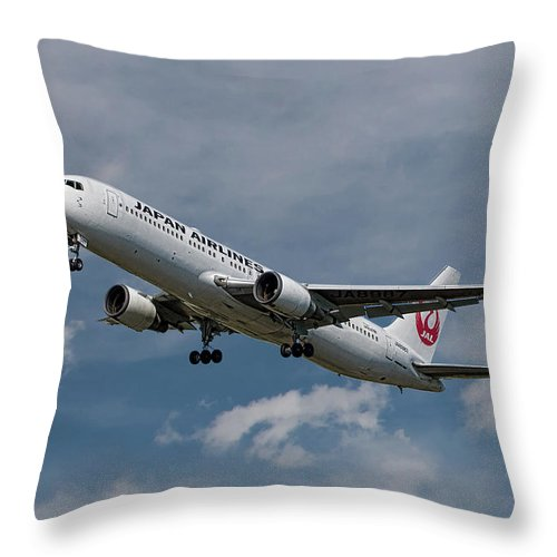 Japan Throw Pillow featuring the mixed media Japan Airlines Boeing 767-346 by Smart Aviation