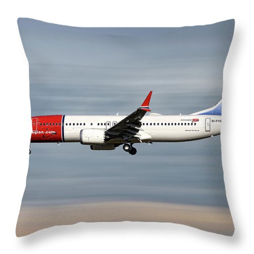 Norwegian Throw Pillow featuring the mixed media Norwegian Boeing 737 Max 8 by Smart Aviation
