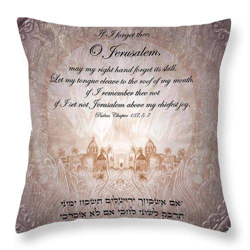 Psalm 137 Throw Pillow featuring the digital art Psalm 137 by Sandrine Kespi