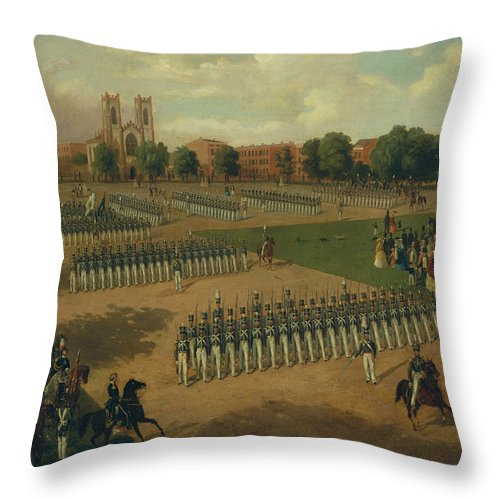 Seventh Regiment On Review Throw Pillow featuring the painting Seventh Regiment On Review, Washington Square, New York by Otto Boetticher