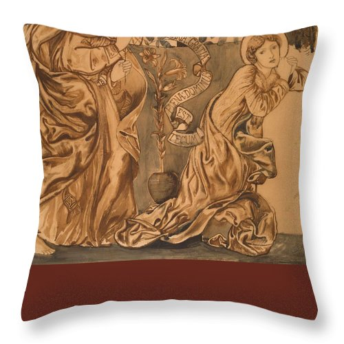The Annunciation Throw Pillow featuring the painting The Annunciation by Edward Burne-Jones