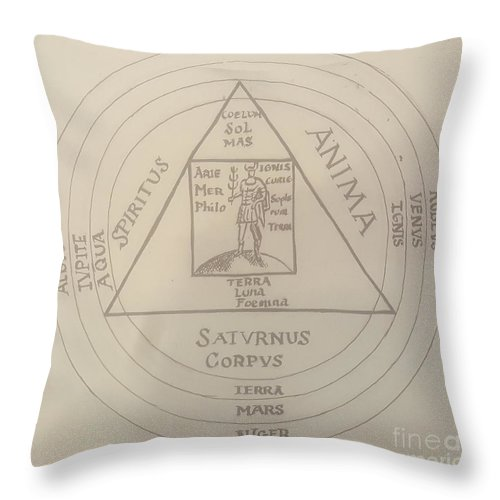 Throw Pillow featuring the drawing Untitled 4 by Jude Darrien