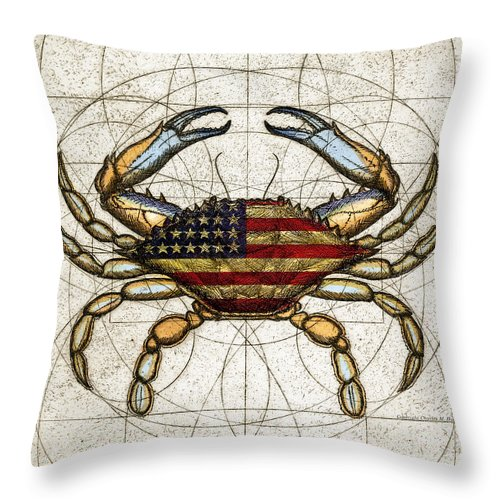 Charles Harden Throw Pillow featuring the mixed media 4th Of July Crab by Charles Harden