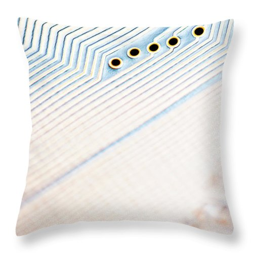 Electrical Component Throw Pillow featuring the photograph Close-up Of A Circuit Board by Nicholas Rigg