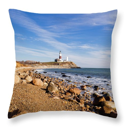 Headland Throw Pillow featuring the photograph Lighthouse At Montauk Point, Long by Alex Potemkin