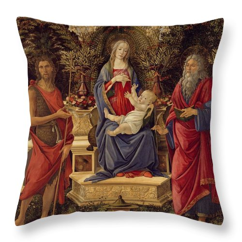 Sandro Botticelli Throw Pillow featuring the painting Madonna With Saints by Sandro Botticelli