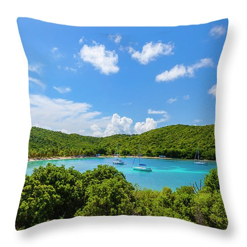 Sailboat Throw Pillow featuring the photograph Salt Whistle Bay, Mayreau by Argalis