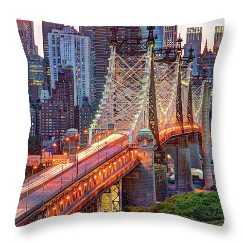 Architectural Column Throw Pillow featuring the photograph 59th Street Bridge by Tony Shi Photography