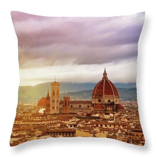 Palazzo Vecchio Throw Pillow featuring the photograph Florence, Santa Maria Del Fiore by Deimagine
