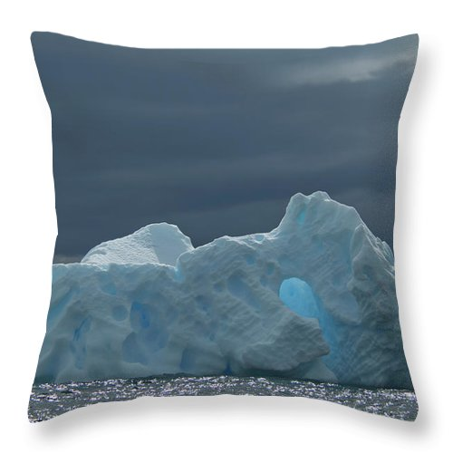 Iceberg Throw Pillow featuring the photograph Iceberg Along The Antarctic Peninsula by Mint Images - David Schultz