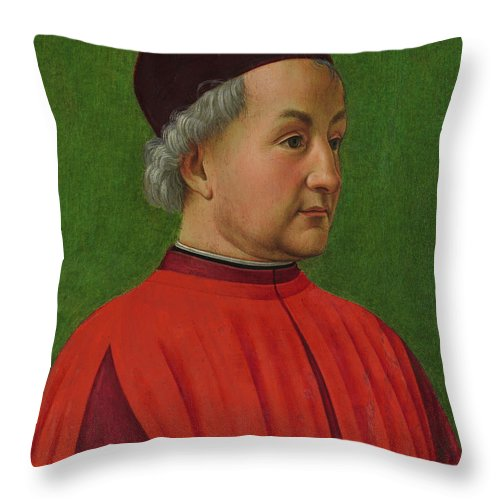 Ghirlandaio Throw Pillow featuring the painting Portrait Of A Man by Domenico Ghirlandaio