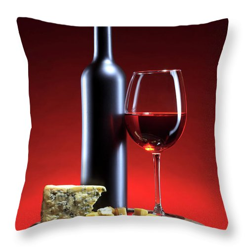 Cheese Throw Pillow featuring the photograph Red Wine Composition by Valentinrussanov