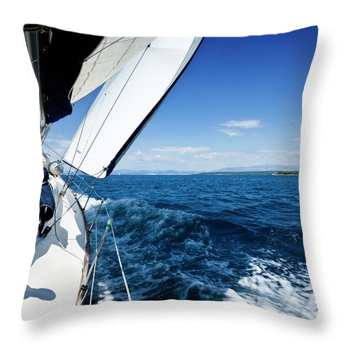 Curve Throw Pillow featuring the photograph Sailing In The Wind With Sailboat by Mbbirdy