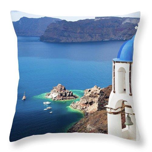 Greek Culture Throw Pillow featuring the photograph Santorini, Greece by Traveler1116