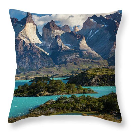 Scenics Throw Pillow featuring the photograph Chile, Torres Del Paine National Park by Walter Bibikow