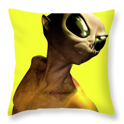 Looking Over Shoulder Throw Pillow featuring the digital art Alien, Artwork by Victor Habbick Visions