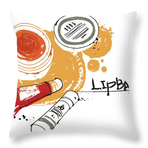 White Background Throw Pillow featuring the digital art Cosmetics by Eastnine Inc.