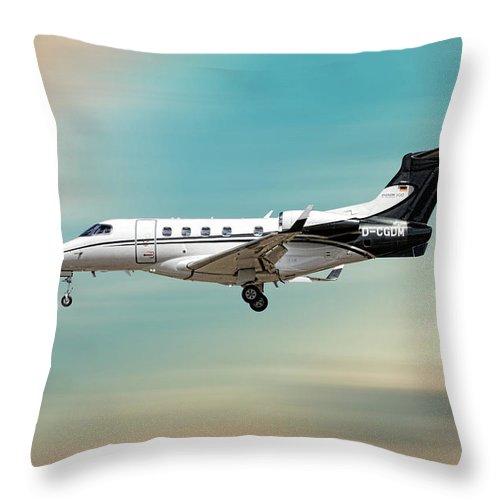 Phenom Throw Pillow featuring the mixed media Phenom 300 Arrow by Smart Aviation