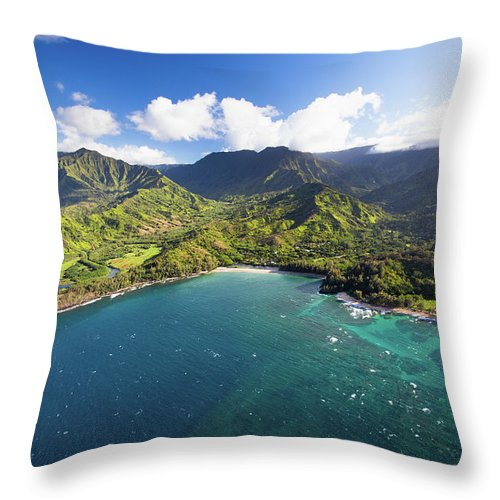 Tranquility Throw Pillow featuring the photograph Scenic Aerial Views Of Kauai From Above by Matthew Micah Wright