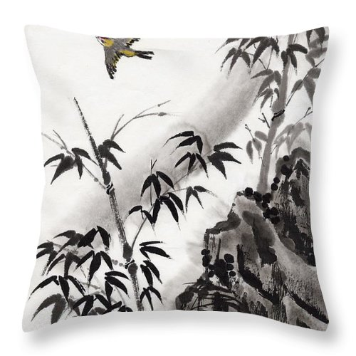 Scenics Throw Pillow featuring the digital art A Bird And Bamboo Leaves, Ink Painting by Daj