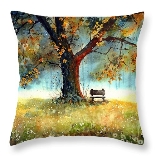 Bench Throw Pillow featuring the painting A Bit Of Nostalgia by Suzann Sines