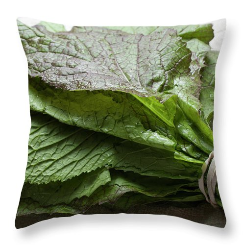 Leaf Vegetable Throw Pillow featuring the photograph A Bunch Of Fresh Mustard Greens by Brian Yarvin