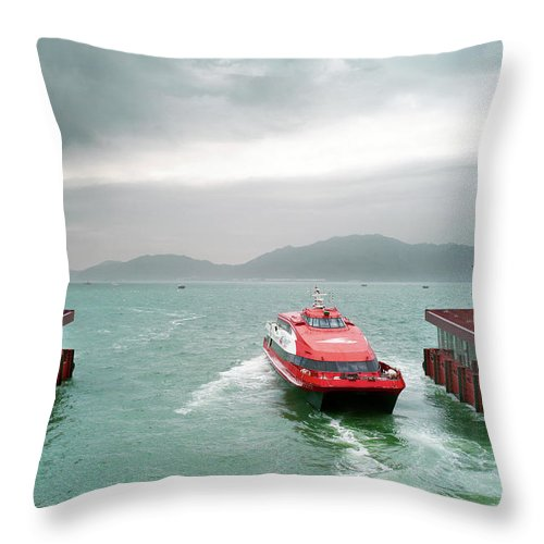 Macao Throw Pillow featuring the photograph A Catamaran Ferry Docks At A Port by Xpacifica