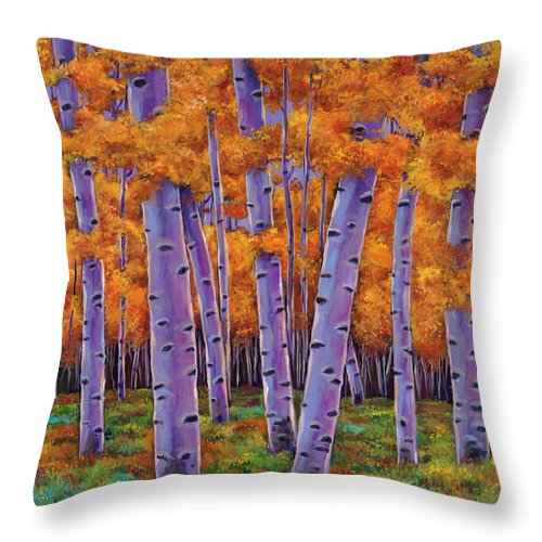 Aspen Trees Throw Pillow featuring the painting A Chance Encounter by Johnathan Harris