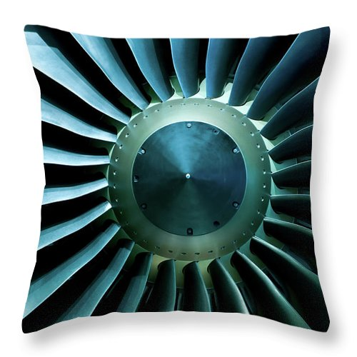 Material Throw Pillow featuring the photograph A Close Of Up A Turbine Showing The by Brasil2