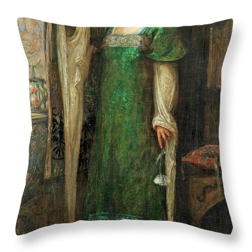 Damsel In Distress Throw Pillow featuring the painting A Damsel In The Tower by Molly Evans