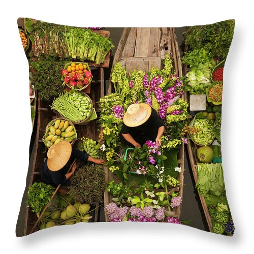 People Throw Pillow featuring the photograph A Floating Market On A Canal In by Mint Images - Art Wolfe