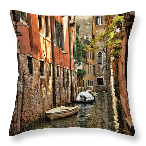Venice Throw Pillow featuring the photograph A Glimmer Of Light by Mary Buck