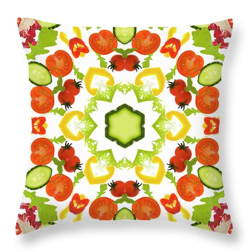 White Background Throw Pillow featuring the photograph A Kaleidoscope Image Of Salad Vegetables by Andrew Bret Wallis