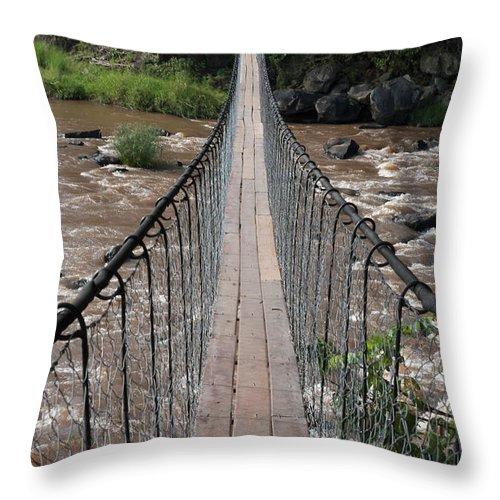 Long Throw Pillow featuring the photograph A Long Suspension Bridge Over A River by Diane Levit / Design Pics