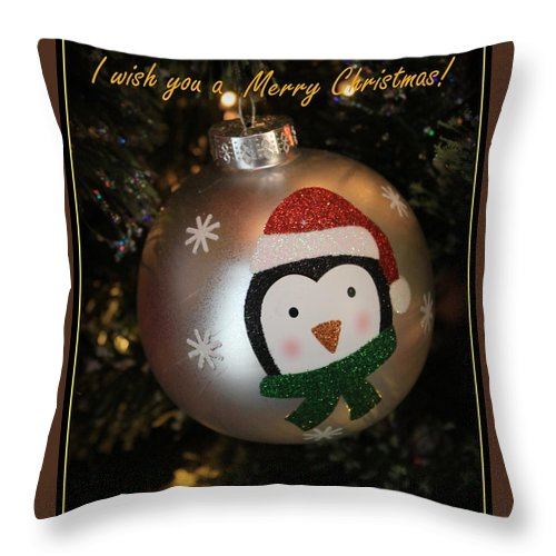 Holiday Throw Pillow featuring the photograph A Merry Christmas Greeting by Dora Sofia Caputo Photographic Design and Fine Art